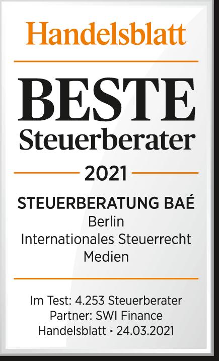Handelsblatt Auszeichnung Beste Steuerberater 2021 Steuerberatung Bae